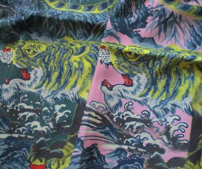 虎柄 ハワイアンシャツ
